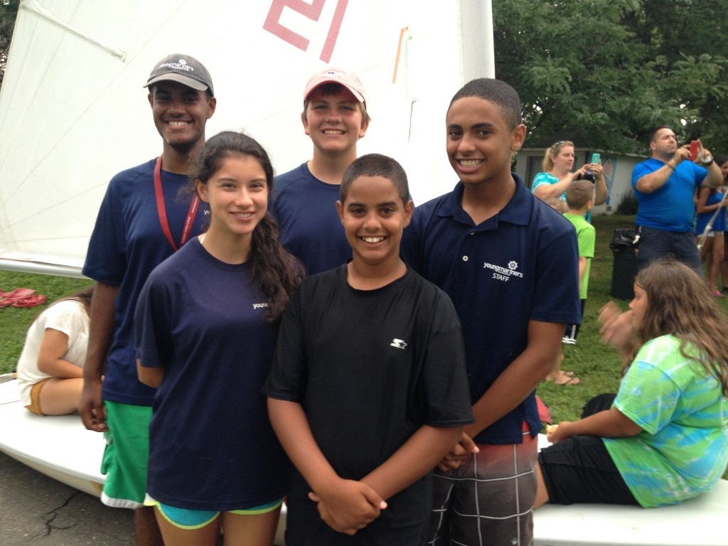 SHS Band Members Matt Bagan, Ben Jachimczyk, Joseph Bagan and Beverly Reyes teach at-risk middle school students how to sail at the Young Mariner Foundation's Blue Water Bound Summer Sailing Camp.  6th Grade camper Andrew Bagan is also a member of the Stamford High Marching Band.