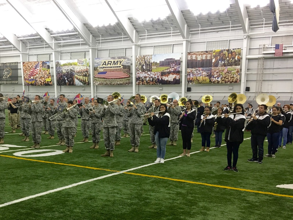 Rehearsing with the Army Band
